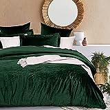 Lanqinglv Dunkelgrün Bettwäsche 135x200cm Biber Warme Winter Plüsch Deckenbezug Bettbezug mit Reißverschluss und 1 Kissenbezug 80x80cm