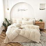 CoutureBridal Plüsch Bettwäsche Set 135x200cm Mädchen Weiß Warme Winter Langhaar Flauschig Flanell Bettbezug mit Reißverschluss und Kissenbezug 80x80cm