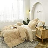 Sacebeleu Plüsch Bettwäsche Set 135x200cm Khaki Hellbraun Warme Winter Flauschig Flanell Biber Mädchen Bettbezug mit Reißverschluss und 1 Kissenbezug 80x80cm