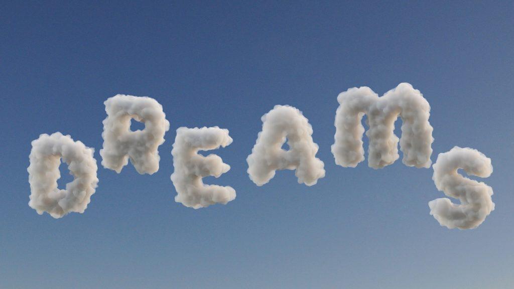 Wolken als Buchstaben